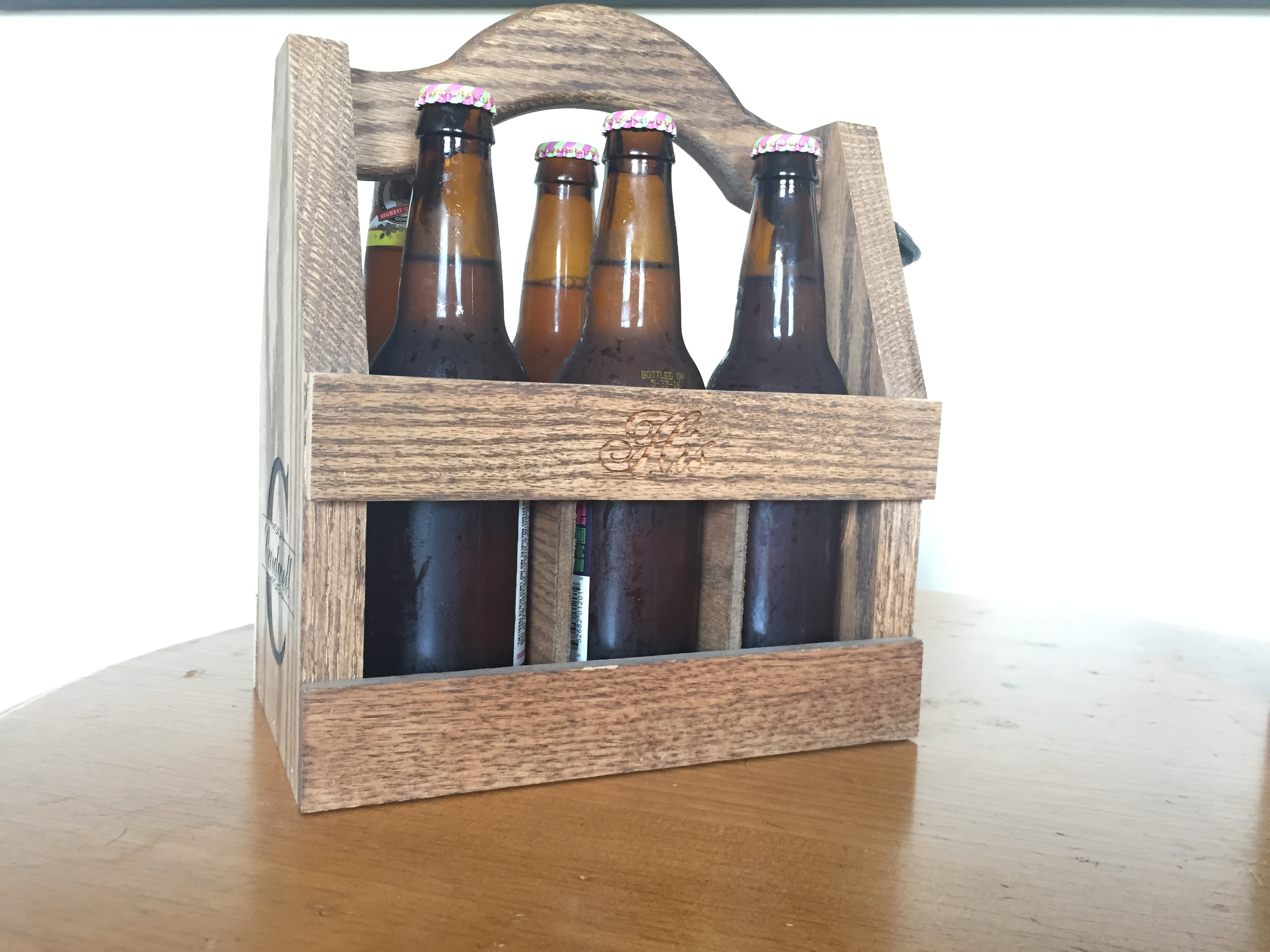 Wooden Bottle Beer Caddy