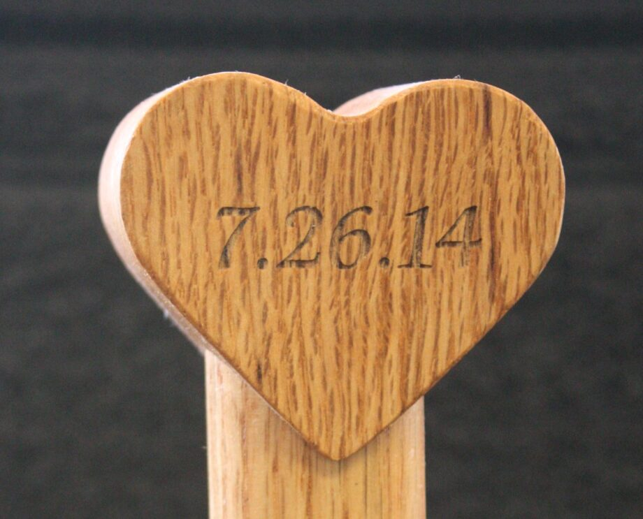 Heart top to paper towel holder with wedding date engraved
