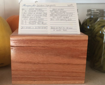 Handcrafted wooden recipe box