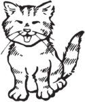 Cat that can be laser engraved on wooden baby block, piggy bank, or tissue box