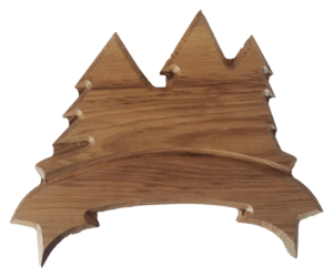 hardwood sign with pine trees