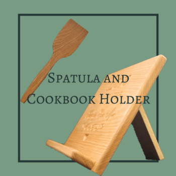 Wooden Spatula and Cookbook holder
